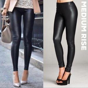 Black Faux Leather Leggings Mid - Rise Vegan Pants